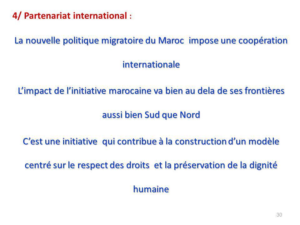 4/ Partenariat international : La nouvelle politique migratoire du Maroc impose une coopération internationale L'impact de l'initiative marocaine va bien au dela de ses frontières aussi bien Sud que Nord C'est une initiative qui contribue à la construction d'un modèle centré sur le respect des droits et la préservation de la dignité humaine 30