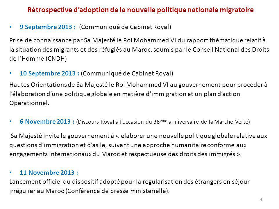 Rétrospective d'adoption de la nouvelle politique nationale migratoire 9 Septembre 2013 : (Communiqué de Cabinet Royal) Prise de connaissance par Sa Majesté le Roi Mohammed VI du rapport thématique relatif à la situation des migrants et des réfugiés au Maroc, soumis par le Conseil National des Droits de l'Homme (CNDH) 10 Septembre 2013 : (Communiqué de Cabinet Royal) Hautes Orientations de Sa Majesté le Roi Mohammed VI au gouvernement pour procéder à l'élaboration d'une politique globale en matière d'immigration et un plan d'action Opérationnel.