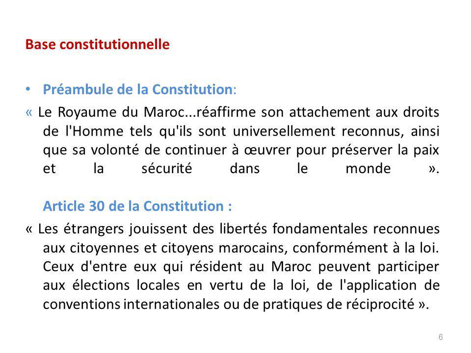 Base constitutionnelle Préambule de la Constitution: « Le Royaume du Maroc...réaffirme son attachement aux droits de l Homme tels qu ils sont universellement reconnus, ainsi que sa volonté de continuer à œuvrer pour préserver la paix et la sécurité dans le monde ».