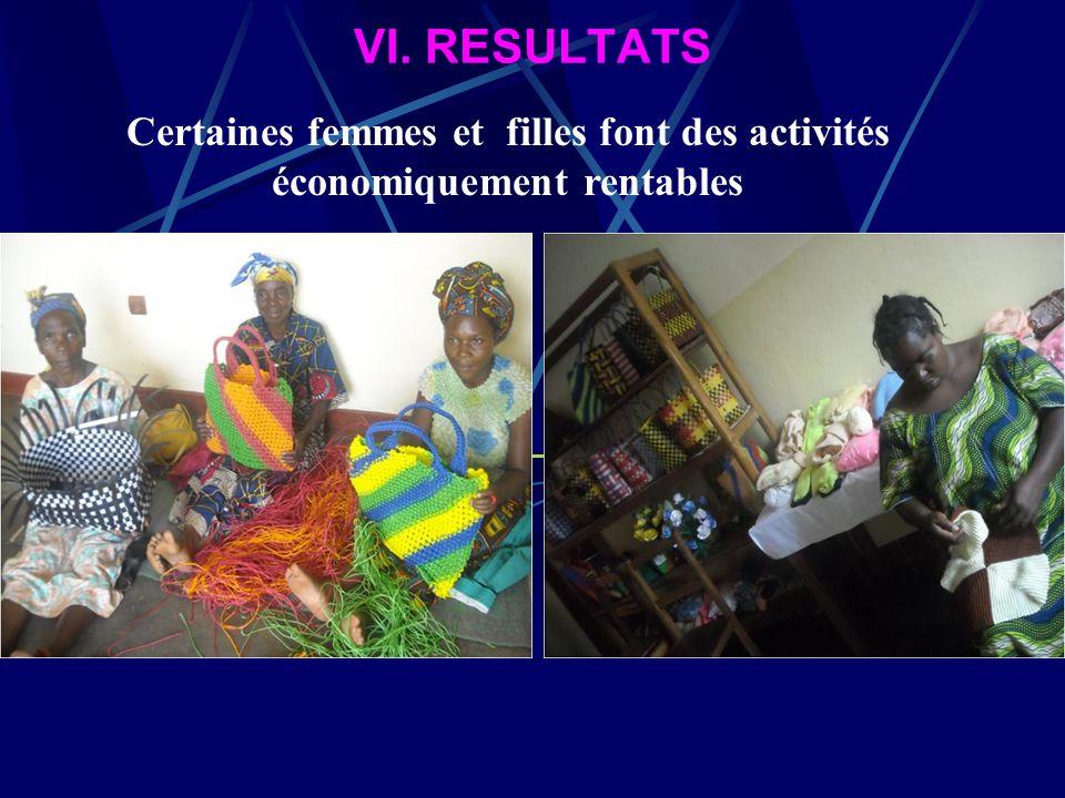 VI. RESULTATS Les femmes ne sont plus isolées, peuvent dialoguer, travailler, et se mouvoir