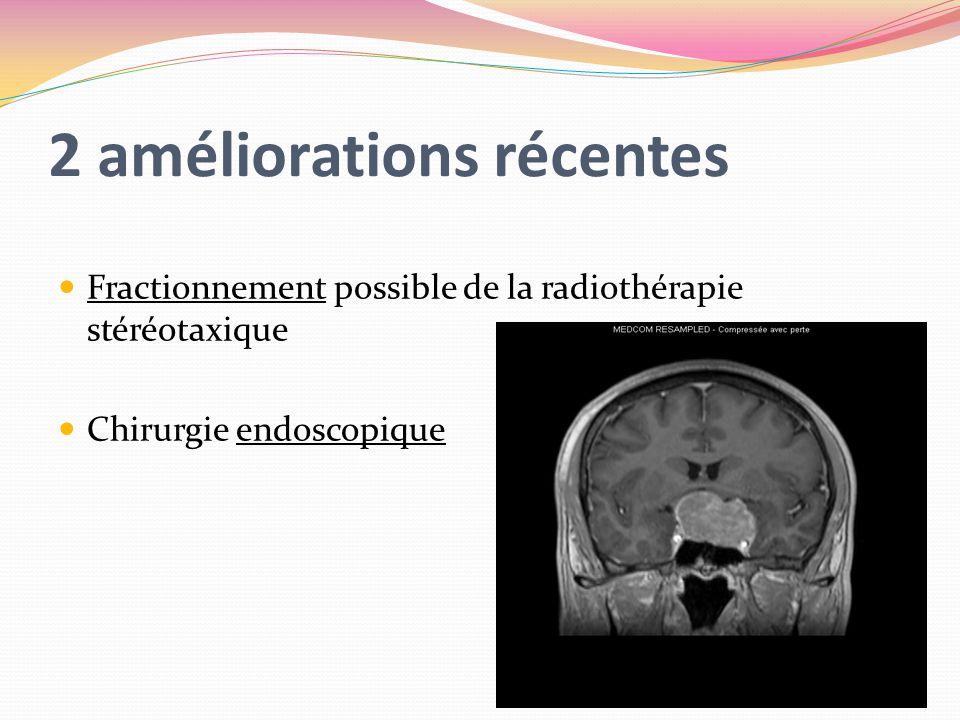2 améliorations récentes Fractionnement possible de la radiothérapie stéréotaxique Chirurgie endoscopique