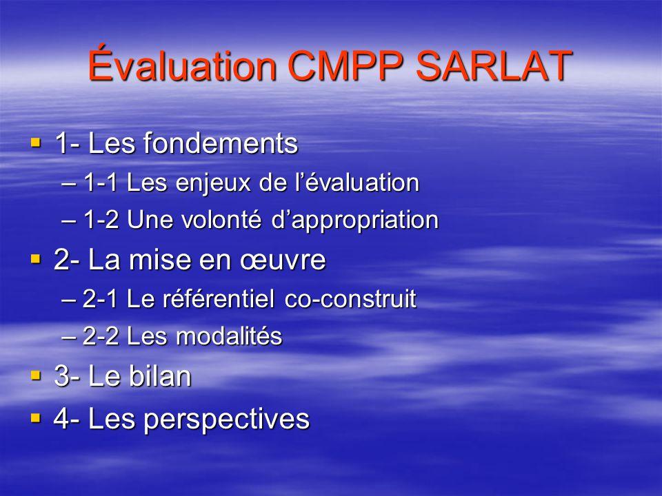 Évaluation CMPP SARLAT  1- Les fondements –1-1 Les enjeux de l'évaluation –1-2 Une volonté d'appropriation  2- La mise en œuvre –2-1 Le référentiel