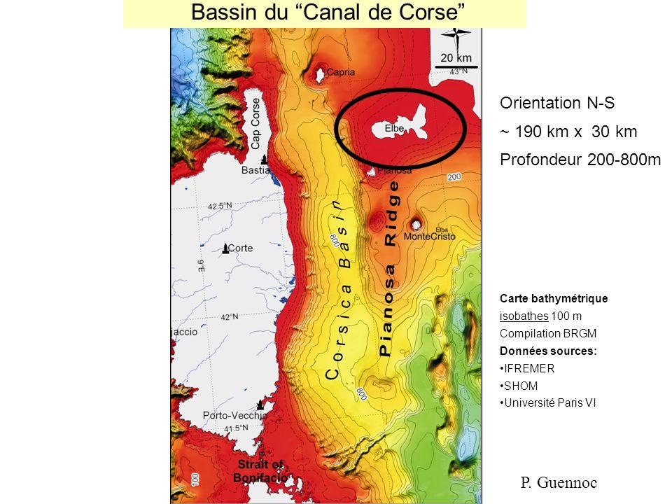 """Bassin du """"Canal de Corse"""" Carte bathymétrique isobathes 100 m Compilation BRGM Données sources: IFREMER SHOM Université Paris VI Orientation N-S ~ 19"""