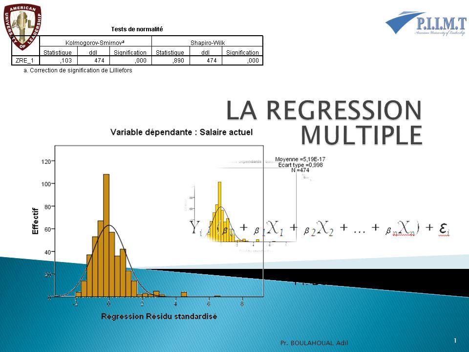 Le diagnostic des observations et la vérification des prémisses Ce dernier tableau est fourni grâce aux options sélectionnées préalablement.