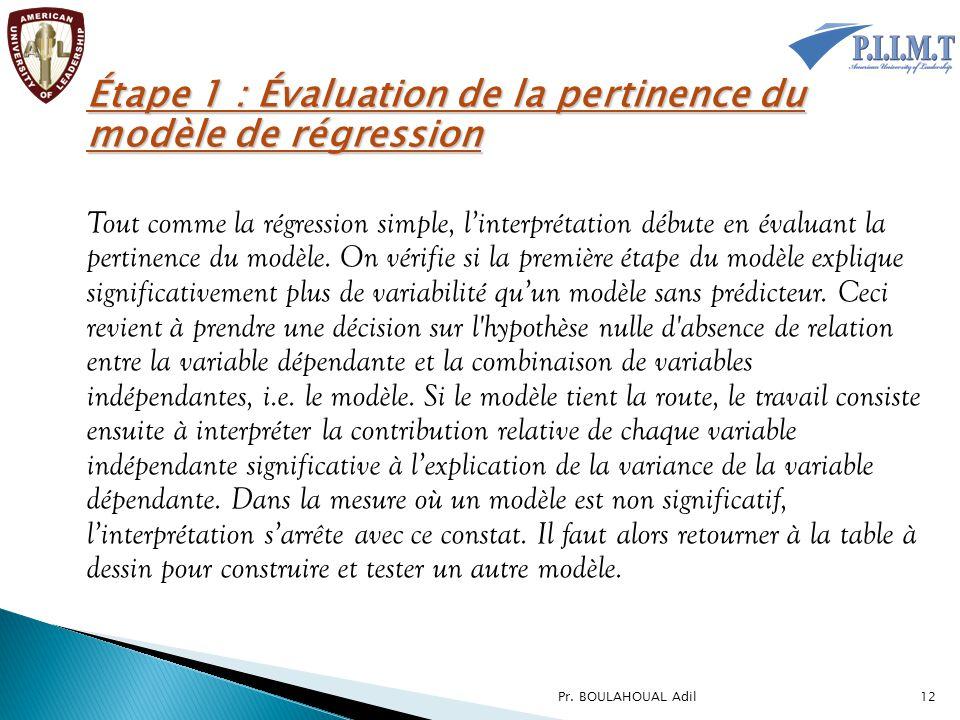 Étape 1 : Évaluation de la pertinence du modèle de régression Tout comme la régression simple, l'interprétation débute en évaluant la pertinence du mo