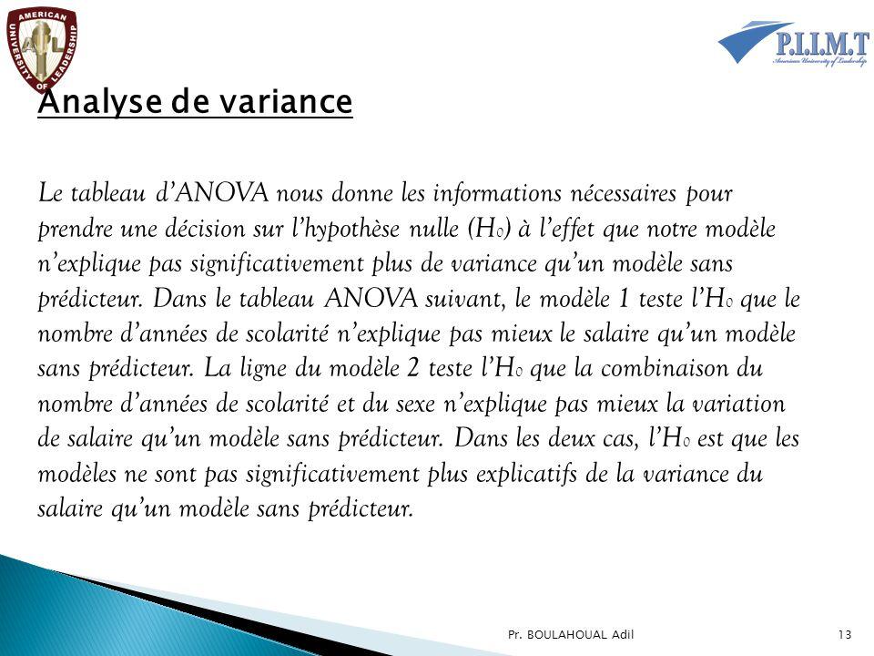 Analyse de variance Le tableau d'ANOVA nous donne les informations nécessaires pour prendre une décision sur l'hypothèse nulle (H 0 ) à l'effet que no