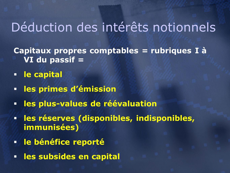 Capitaux propres comptables = rubriques I à VI du passif =  le capital  les primes d'émission  les plus-values de réévaluation  les réserves (disponibles, indisponibles, immunisées)  le bénéfice reporté  les subsides en capital Déduction des intérêts notionnels