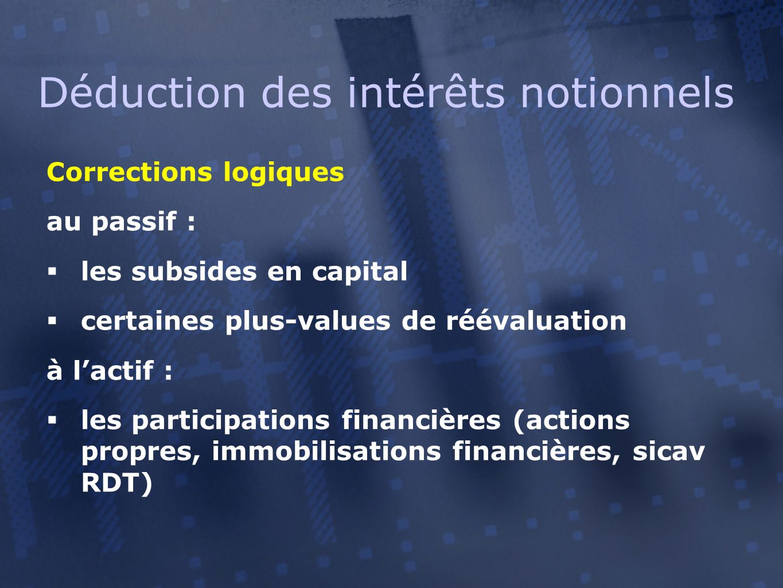 Corrections logiques au passif :  les subsides en capital  certaines plus-values de réévaluation à l'actif :  les participations financières (actio