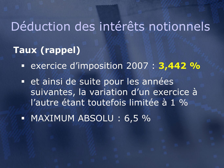 Taux (rappel)  exercice d'imposition 2007 : 3,442 %  et ainsi de suite pour les années suivantes, la variation d'un exercice à l'autre étant toutefois limitée à 1 %  MAXIMUM ABSOLU : 6,5 % Déduction des intérêts notionnels