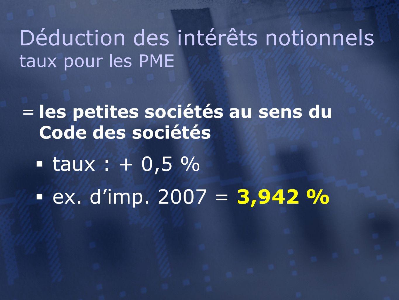 =les petites sociétés au sens du Code des sociétés  taux : + 0,5 %  ex. d'imp. 2007 = 3,942 % Déduction des intérêts notionnels taux pour les PME