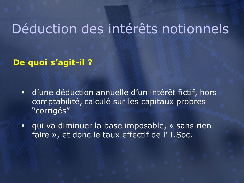 Déduction des intérêts notionnels De quoi s'agit-il ?  d'une déduction annuelle d'un intérêt fictif, hors comptabilité, calculé sur les capitaux prop