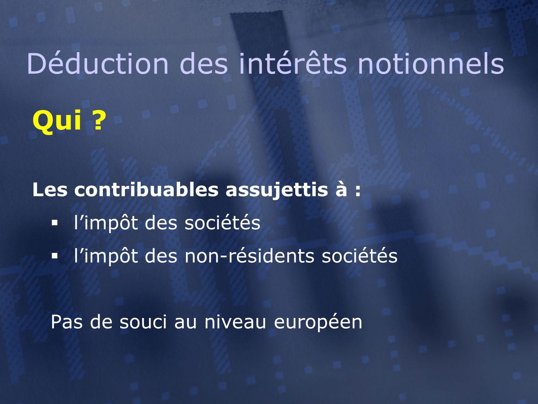 Qui ? Les contribuables assujettis à :  l'impôt des sociétés  l'impôt des non-résidents sociétés Pas de souci au niveau européen Déduction des intér