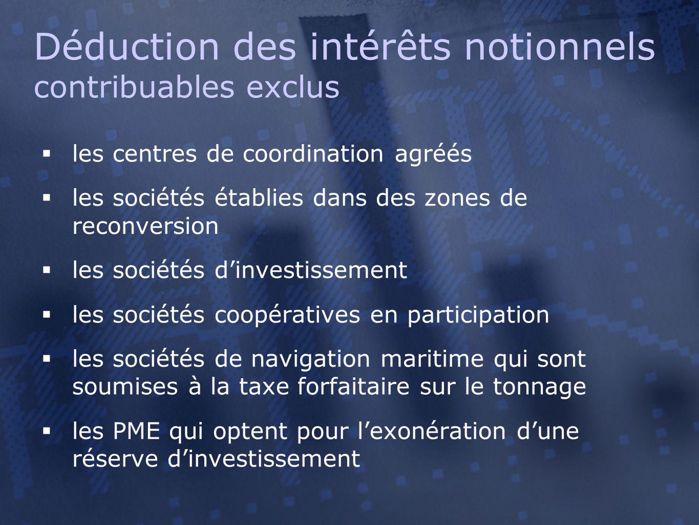  les centres de coordination agréés  les sociétés établies dans des zones de reconversion  les sociétés d'investissement  les sociétés coopérative