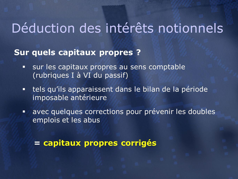 Sur quels capitaux propres ?  sur les capitaux propres au sens comptable (rubriques I à VI du passif)  tels qu'ils apparaissent dans le bilan de la