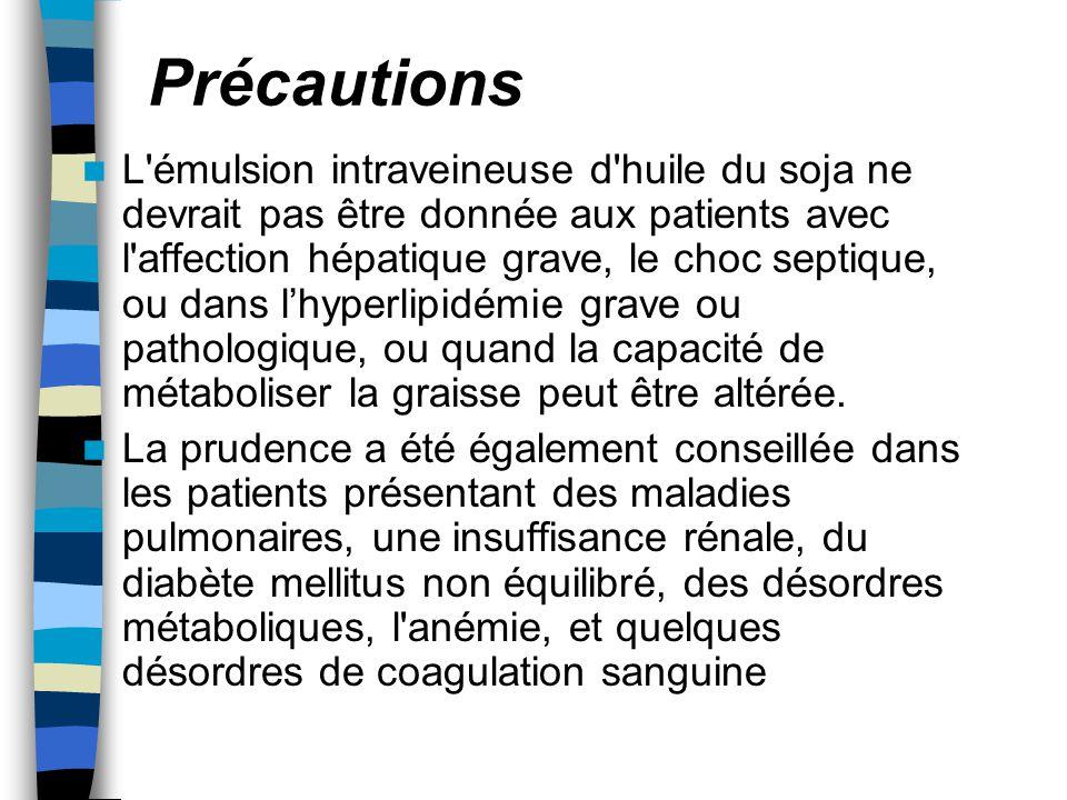 Précautions L'émulsion intraveineuse d'huile du soja ne devrait pas être donnée aux patients avec l'affection hépatique grave, le choc septique, ou da