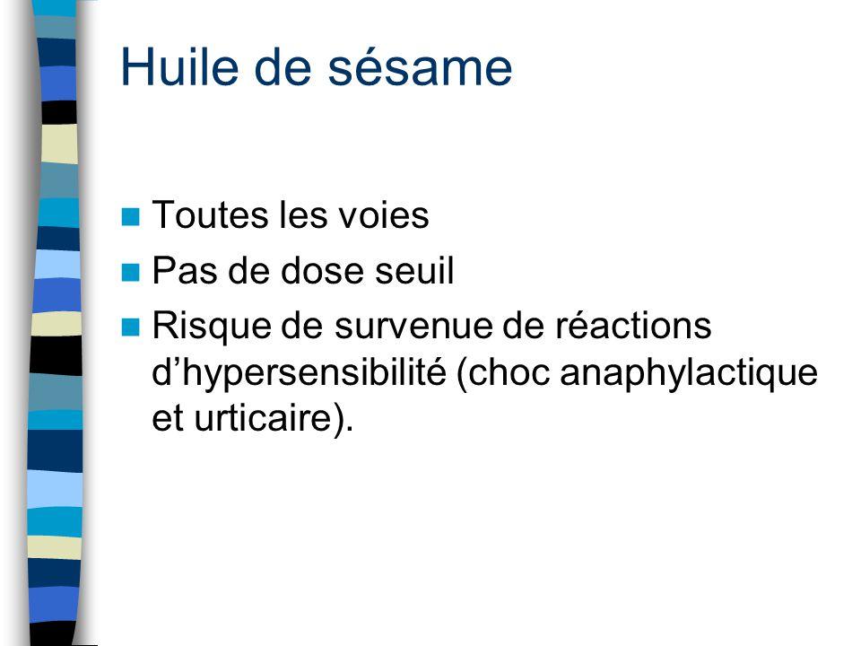 Huile de sésame Toutes les voies Pas de dose seuil Risque de survenue de réactions d'hypersensibilité (choc anaphylactique et urticaire).