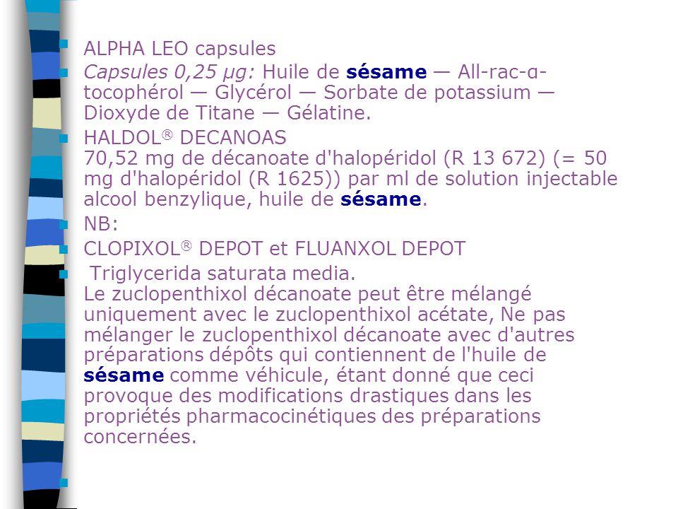 ALPHA LEO capsules Capsules 0,25 μg: Huile de sésame — All-rac-α- tocophérol — Glycérol — Sorbate de potassium — Dioxyde de Titane — Gélatine. HALDOL