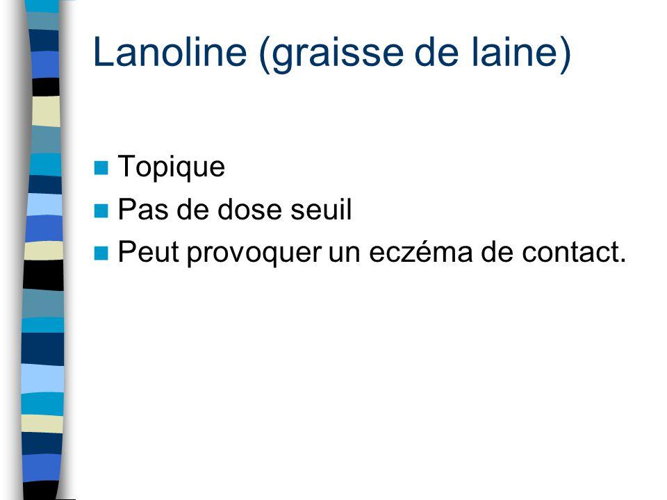 Lanoline (graisse de laine) Topique Pas de dose seuil Peut provoquer un eczéma de contact.