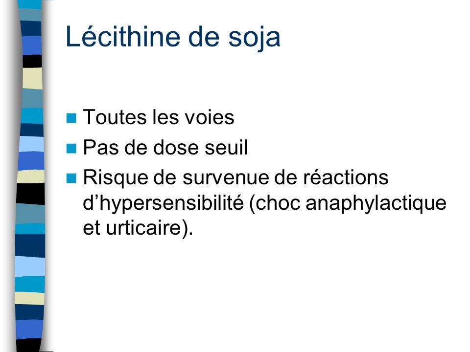 Lécithine de soja Toutes les voies Pas de dose seuil Risque de survenue de réactions d'hypersensibilité (choc anaphylactique et urticaire).