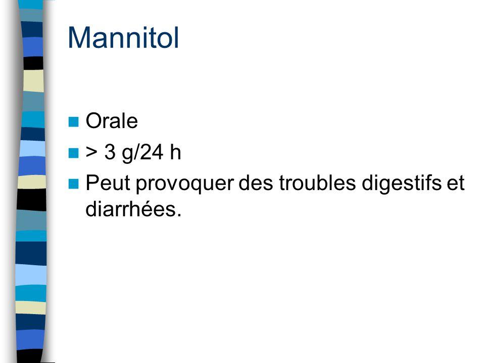 Mannitol Orale > 3 g/24 h Peut provoquer des troubles digestifs et diarrhées.