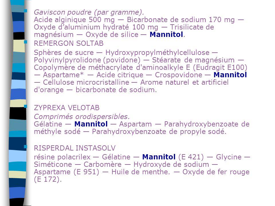 Gaviscon poudre (par gramme). Acide alginique 500 mg — Bicarbonate de sodium 170 mg — Oxyde d'aluminium hydraté 100 mg — Trisilicate de magnésium — Ox