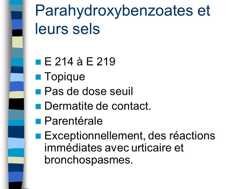 Parahydroxybenzoates et leurs sels E 214 à E 219 Topique Pas de dose seuil Dermatite de contact. Parentérale Exceptionnellement, des réactions immédia