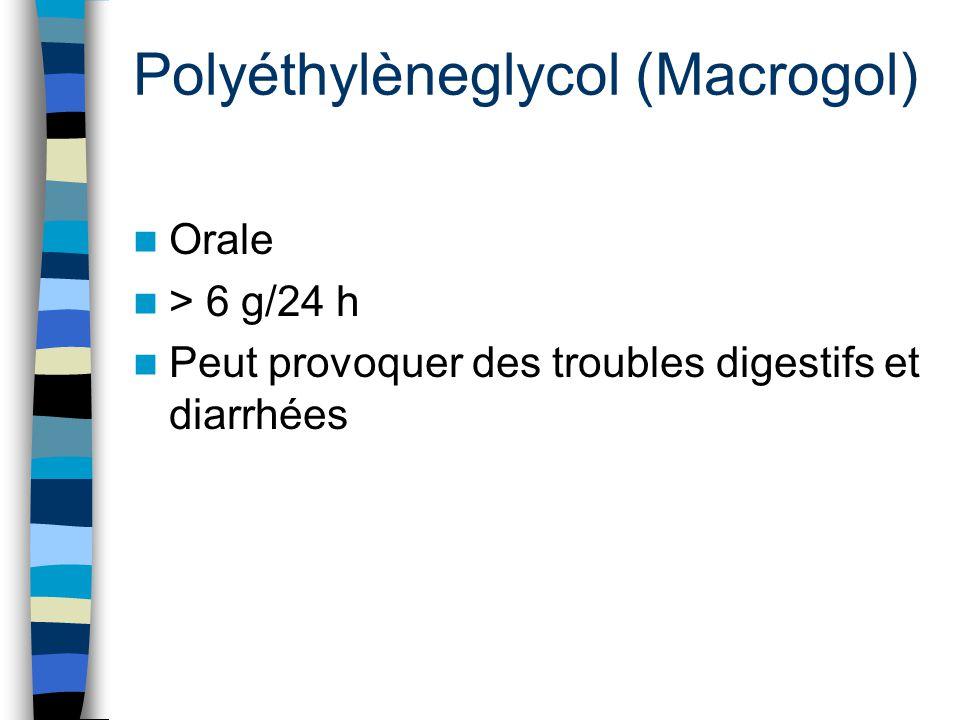 Polyéthylèneglycol (Macrogol) Orale > 6 g/24 h Peut provoquer des troubles digestifs et diarrhées