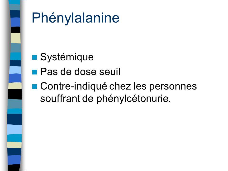Phénylalanine Systémique Pas de dose seuil Contre-indiqué chez les personnes souffrant de phénylcétonurie.