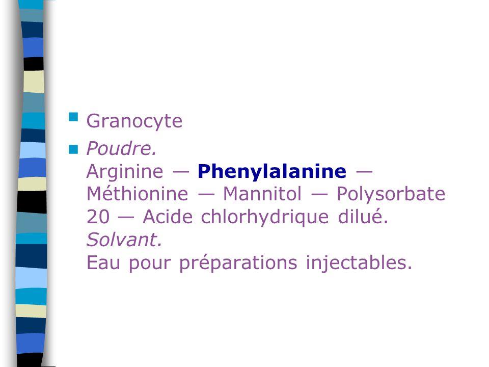 Granocyte Poudre. Arginine — Phenylalanine — Méthionine — Mannitol — Polysorbate 20 — Acide chlorhydrique dilué. Solvant. Eau pour préparations inject