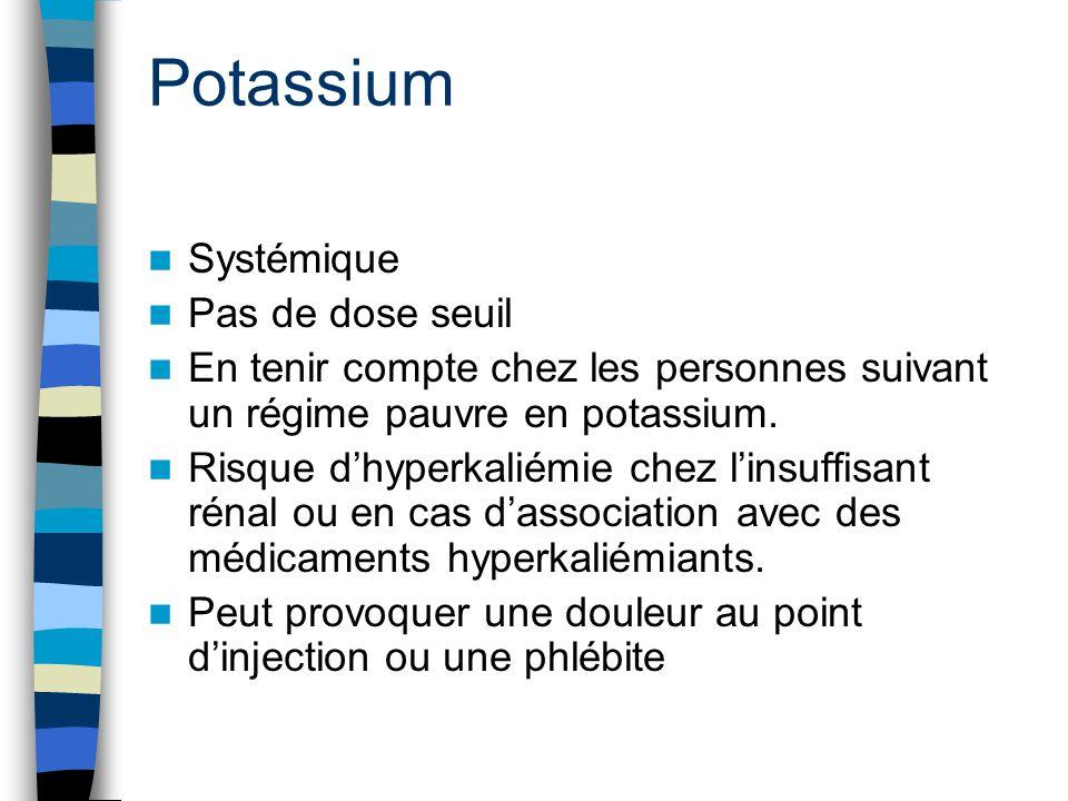 Potassium Systémique Pas de dose seuil En tenir compte chez les personnes suivant un régime pauvre en potassium. Risque d'hyperkaliémie chez l'insuffi