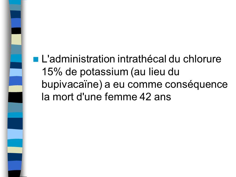 L'administration intrathécal du chlorure 15% de potassium (au lieu du bupivacaïne) a eu comme conséquence la mort d'une femme 42 ans