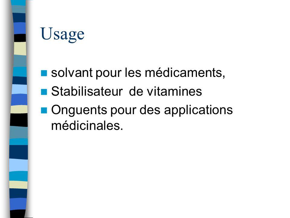 Usage solvant pour les médicaments, Stabilisateur de vitamines Onguents pour des applications médicinales.