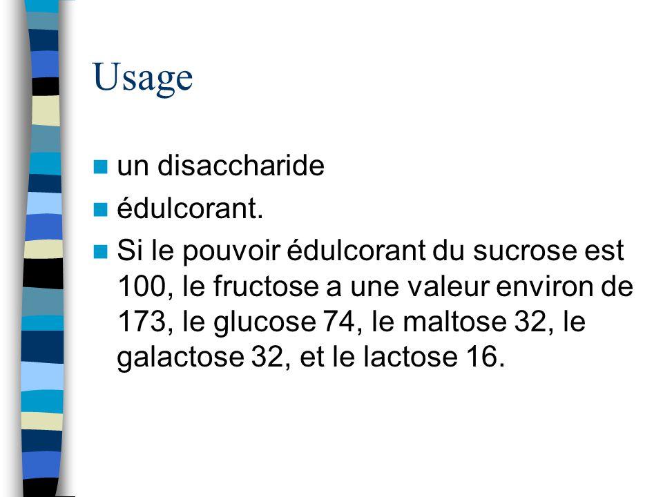 Usage un disaccharide édulcorant. Si le pouvoir édulcorant du sucrose est 100, le fructose a une valeur environ de 173, le glucose 74, le maltose 32,