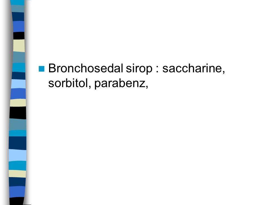 Bronchosedal sirop : saccharine, sorbitol, parabenz,