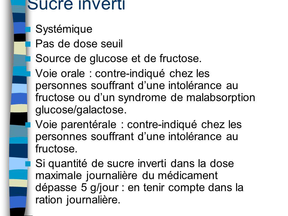 Sucre inverti Systémique Pas de dose seuil Source de glucose et de fructose. Voie orale : contre-indiqué chez les personnes souffrant d'une intoléranc