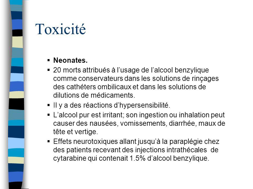 Toxicité  Neonates.  20 morts attribués à l'usage de l'alcool benzylique comme conservateurs dans les solutions de rinçages des cathéters ombilicaux