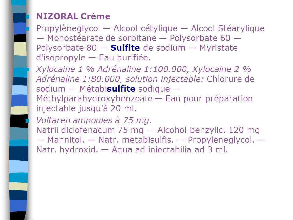 NIZORAL Crème Propylèneglycol — Alcool cétylique — Alcool Stéarylique — Monostéarate de sorbitane — Polysorbate 60 — Polysorbate 80 — Sulfite de sodiu