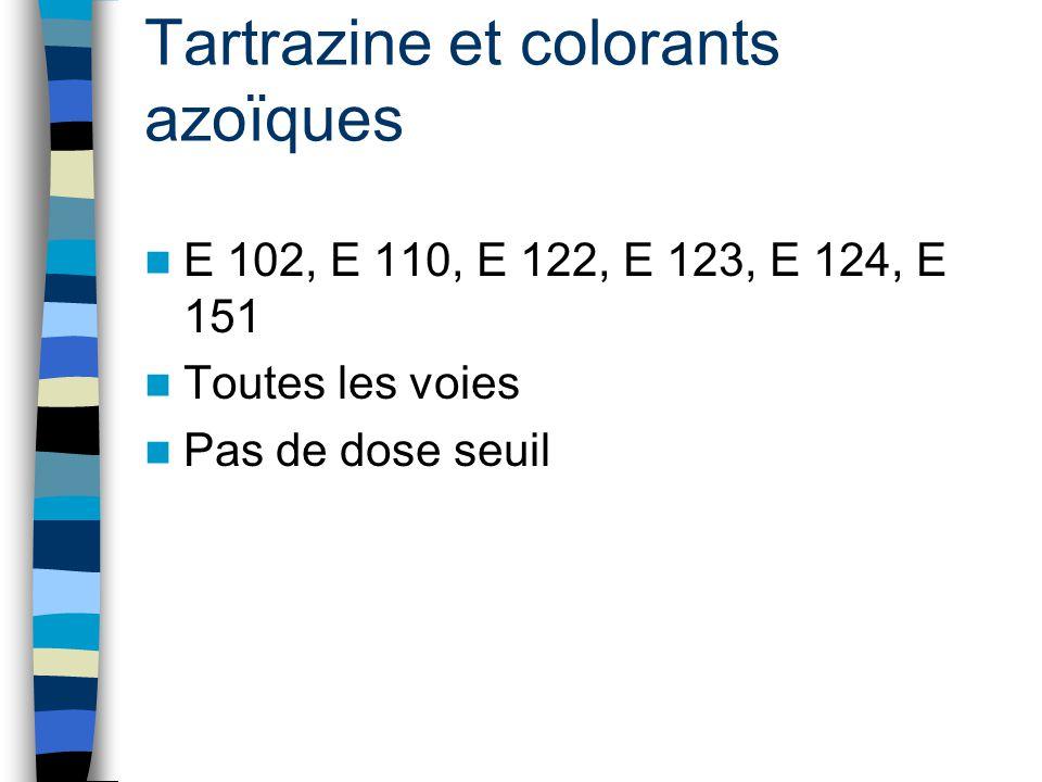 Tartrazine et colorants azoïques E 102, E 110, E 122, E 123, E 124, E 151 Toutes les voies Pas de dose seuil