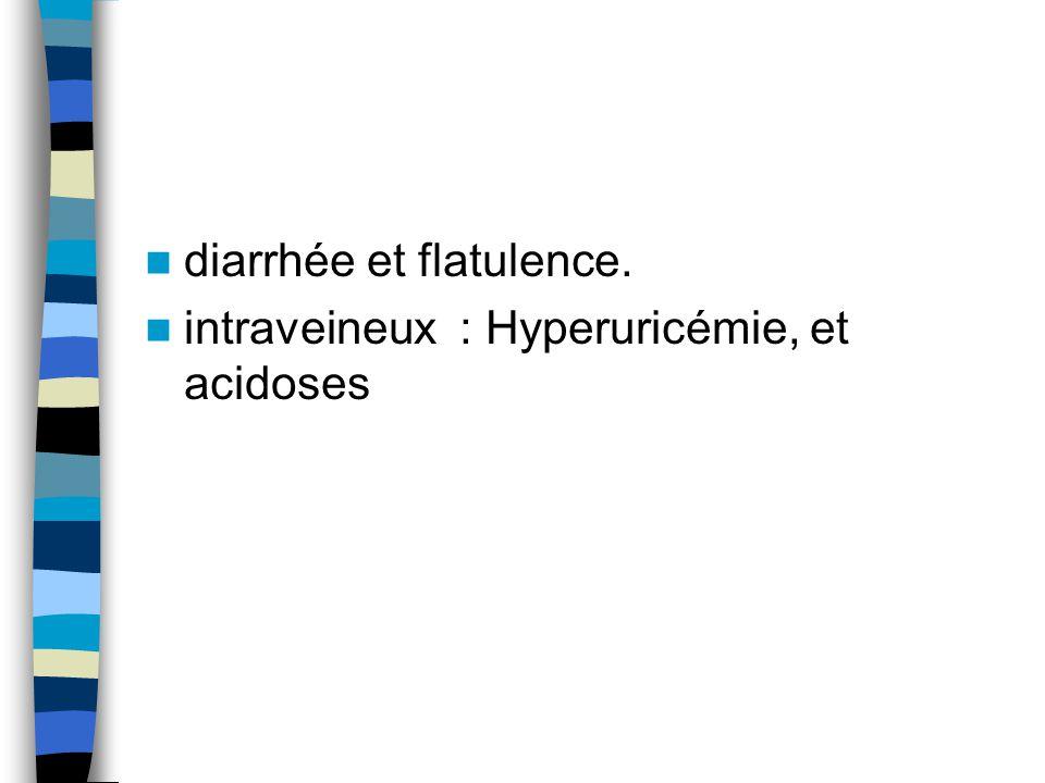 diarrhée et flatulence. intraveineux : Hyperuricémie, et acidoses