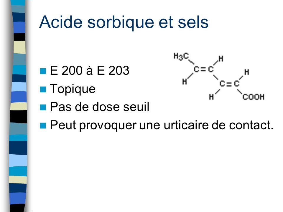 Acide sorbique et sels E 200 à E 203 Topique Pas de dose seuil Peut provoquer une urticaire de contact.