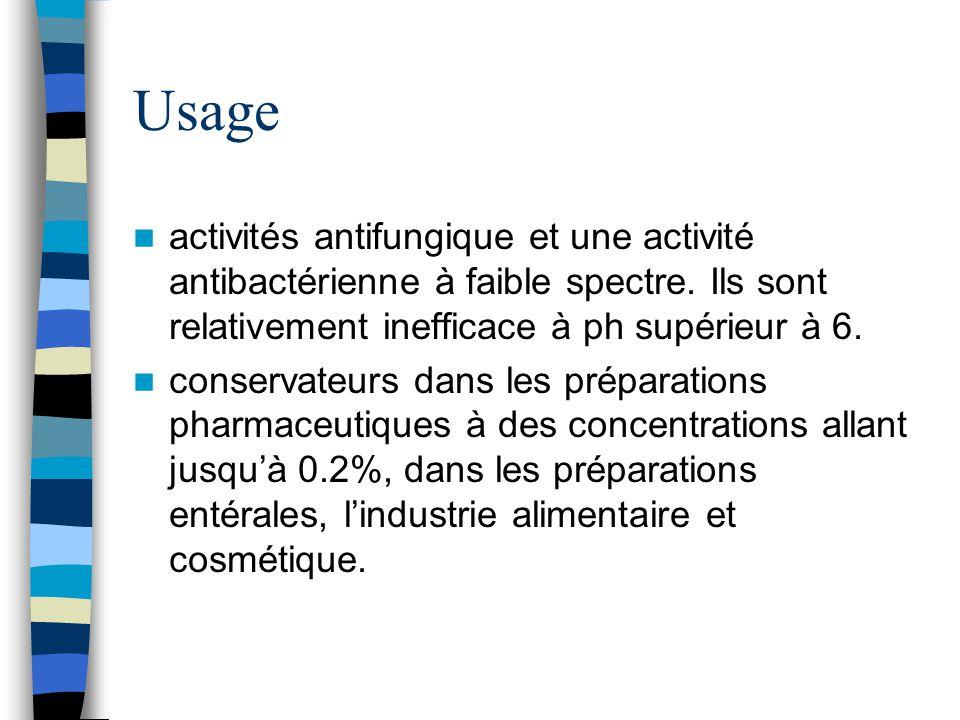 Usage activités antifungique et une activité antibactérienne à faible spectre. Ils sont relativement inefficace à ph supérieur à 6. conservateurs dans