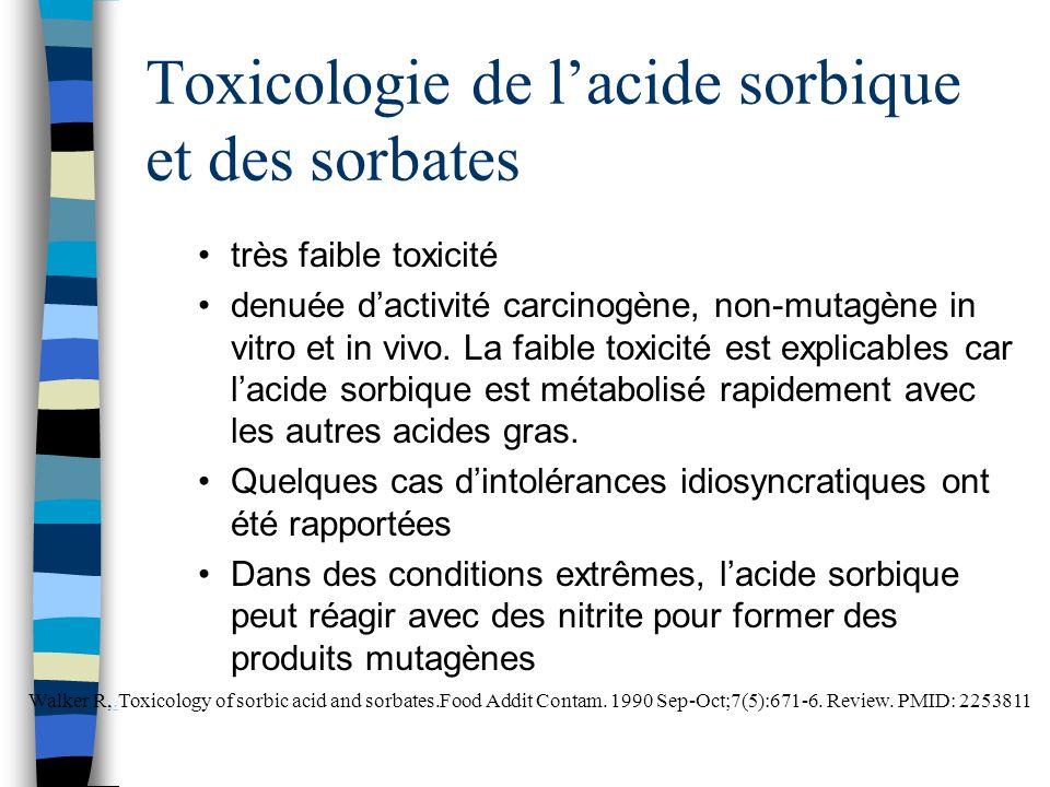 Toxicologie de l'acide sorbique et des sorbates très faible toxicité denuée d'activité carcinogène, non-mutagène in vitro et in vivo. La faible toxici