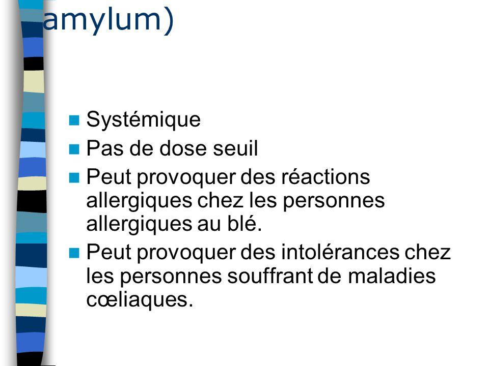 Amidon de blé ( Tritici amylum) Systémique Pas de dose seuil Peut provoquer des réactions allergiques chez les personnes allergiques au blé. Peut prov