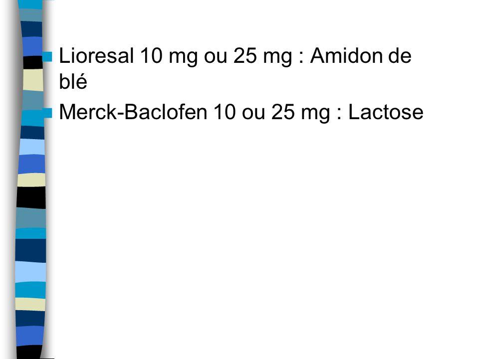 Lioresal 10 mg ou 25 mg : Amidon de blé Merck-Baclofen 10 ou 25 mg : Lactose