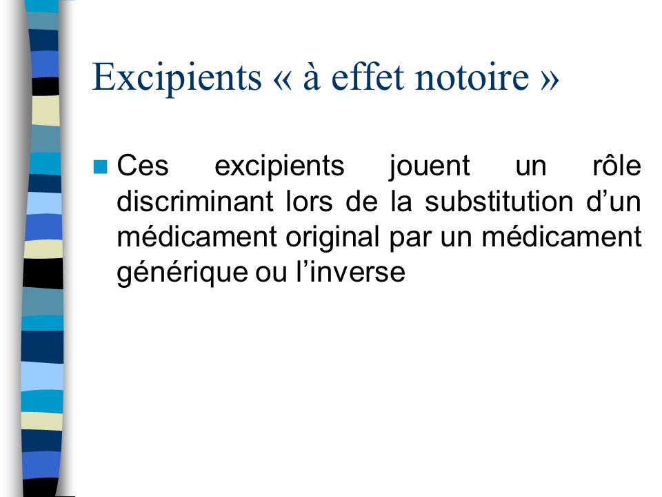 Excipients « à effet notoire » Ces excipients jouent un rôle discriminant lors de la substitution d'un médicament original par un médicament générique