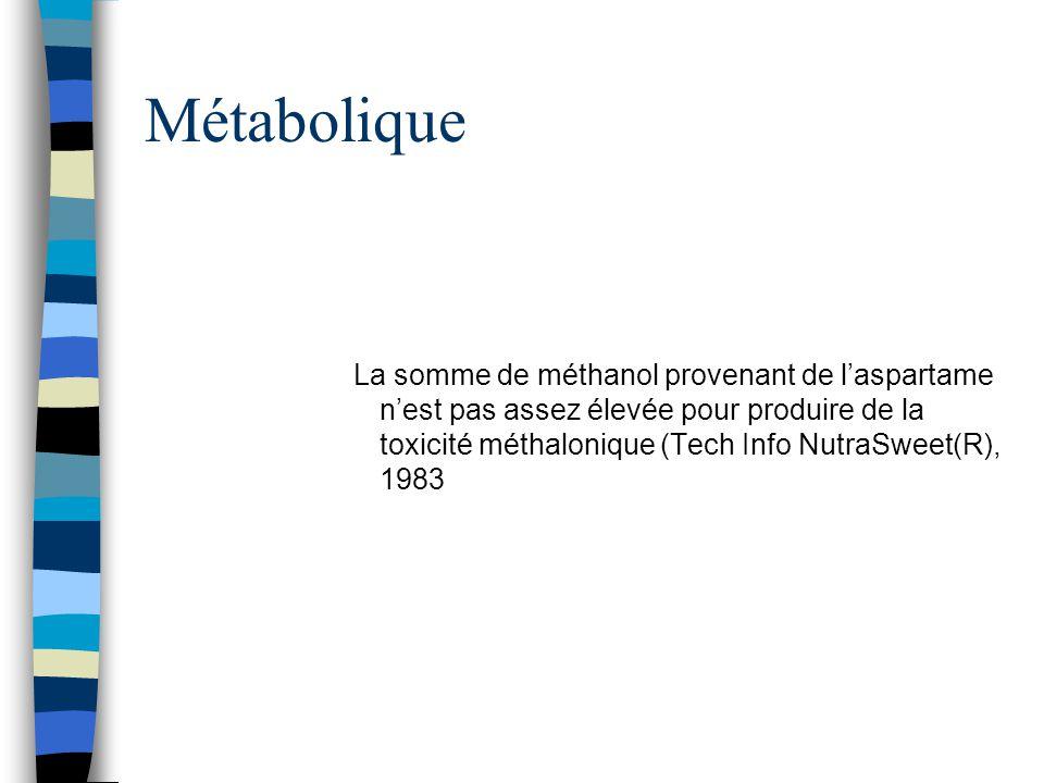 Métabolique La somme de méthanol provenant de l'aspartame n'est pas assez élevée pour produire de la toxicité méthalonique (Tech Info NutraSweet(R), 1