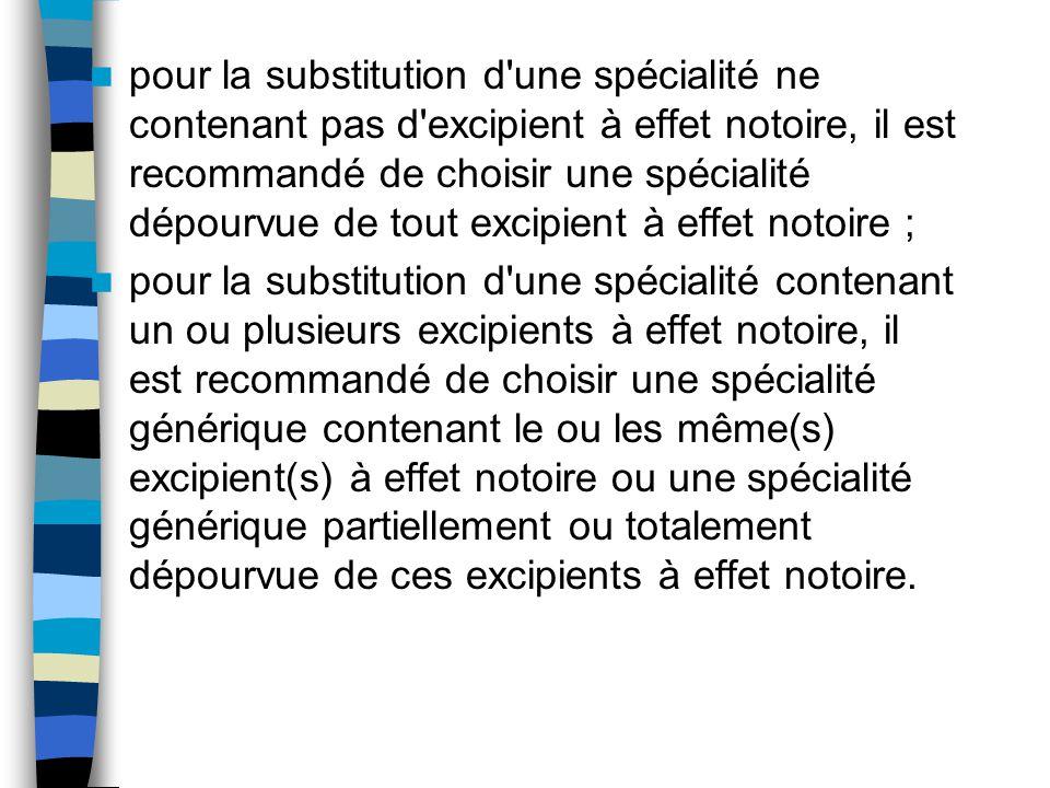 pour la substitution d'une spécialité ne contenant pas d'excipient à effet notoire, il est recommandé de choisir une spécialité dépourvue de tout exci
