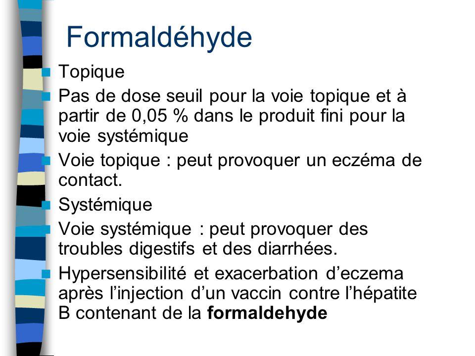 Formaldéhyde Topique Pas de dose seuil pour la voie topique et à partir de 0,05 % dans le produit fini pour la voie systémique Voie topique : peut pro