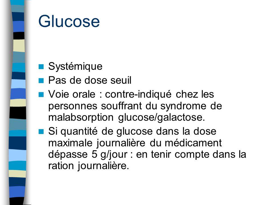 Glucose Systémique Pas de dose seuil Voie orale : contre-indiqué chez les personnes souffrant du syndrome de malabsorption glucose/galactose. Si quant