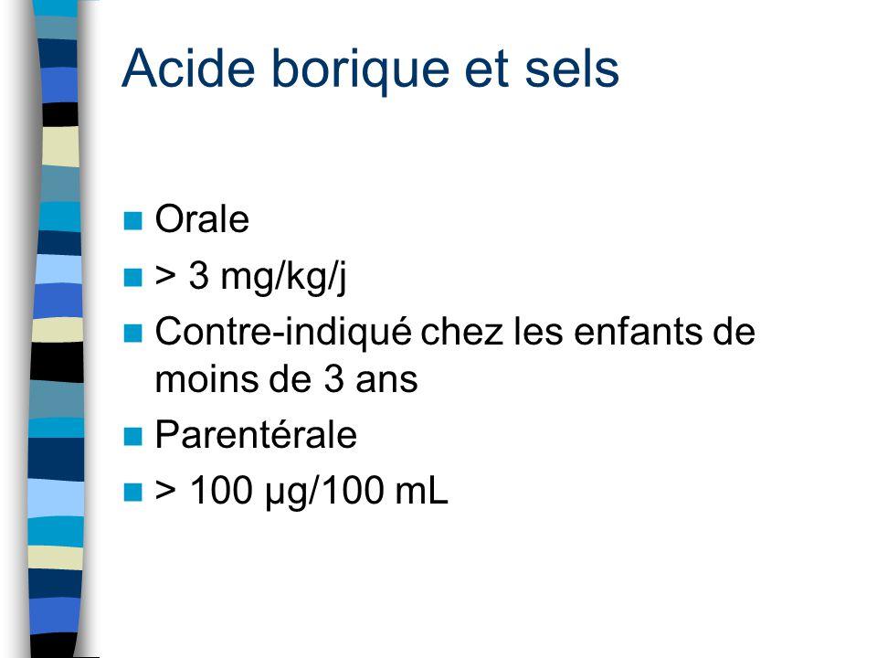Acide borique et sels Orale > 3 mg/kg/j Contre-indiqué chez les enfants de moins de 3 ans Parentérale > 100 μg/100 mL